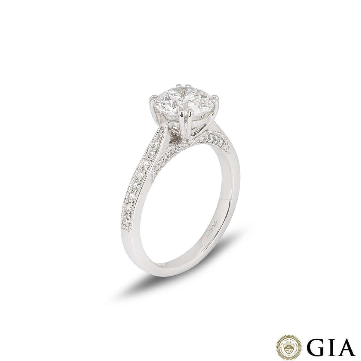 18k White Gold Round Brilliant Cut Diamond Ring 1.70ct F/VS1